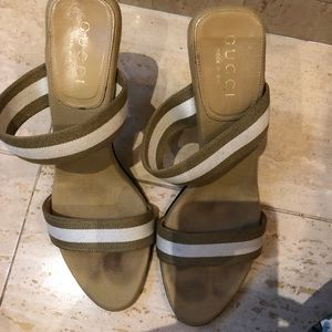 Gucci Tan and White Heeled Sandals